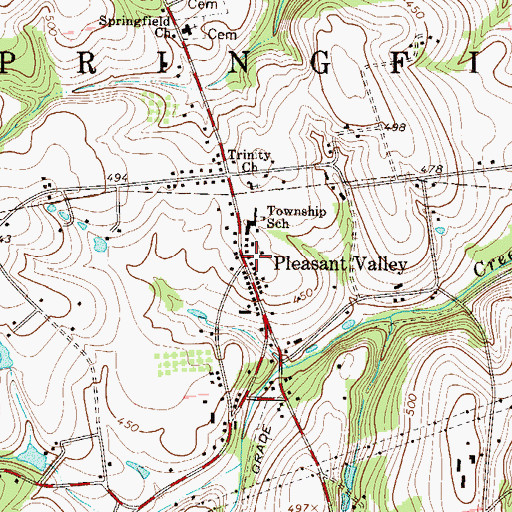 Topographic Map of Pleasent Valley Post Office (historical), PA