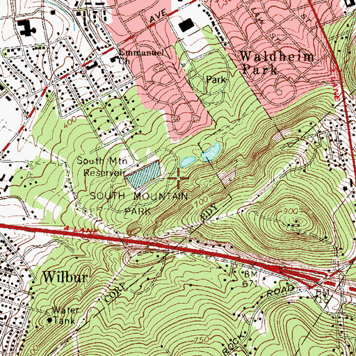 Topographic Map of South Mountain Park, PA