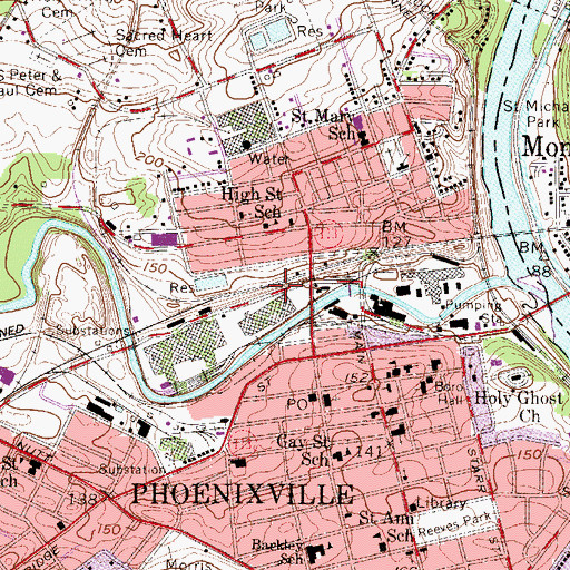 Topographic Map of Borough of Phoenixville, PA