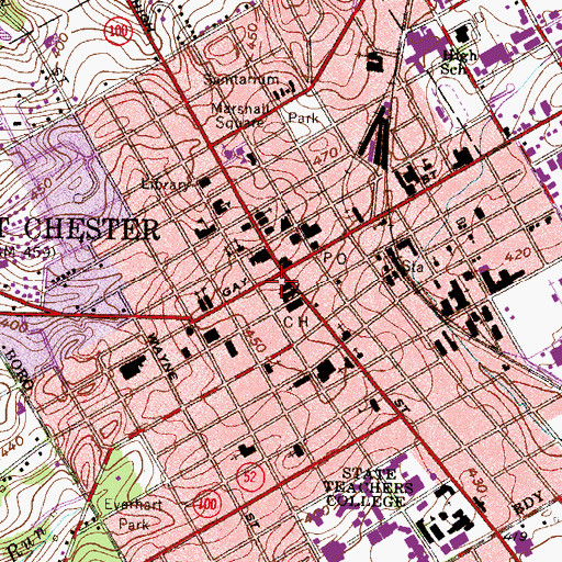 Topographic Map of Borough of West Chester, PA