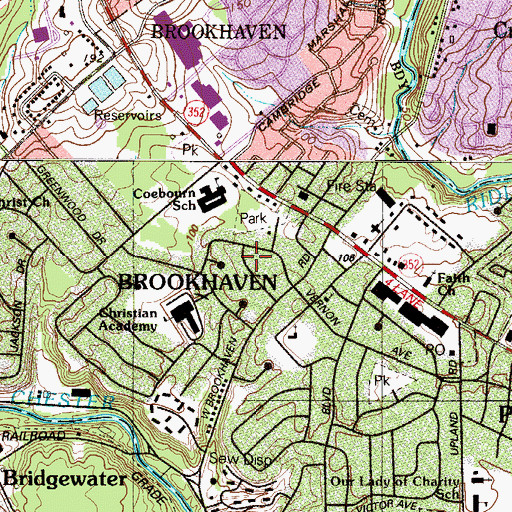 Topographic Map of Borough of Brookhaven, PA