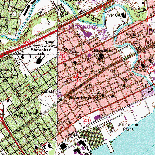 Topographic Map of City of Chester, PA