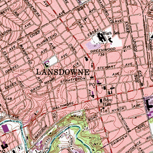 Topographic Map of Borough of Lansdowne, PA