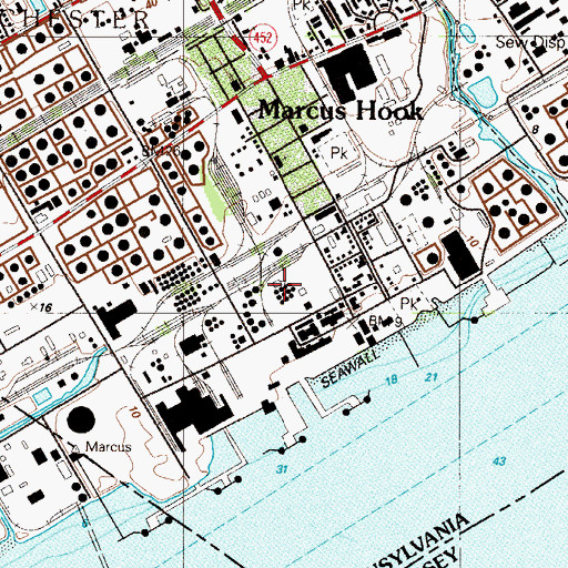 Topographic Map of Borough of Marcus Hook, PA