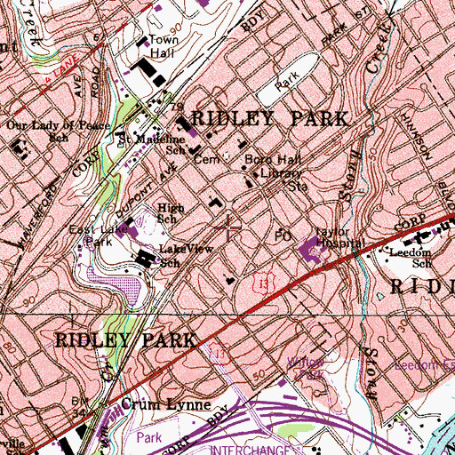 Topographic Map of Borough of Ridley Park, PA