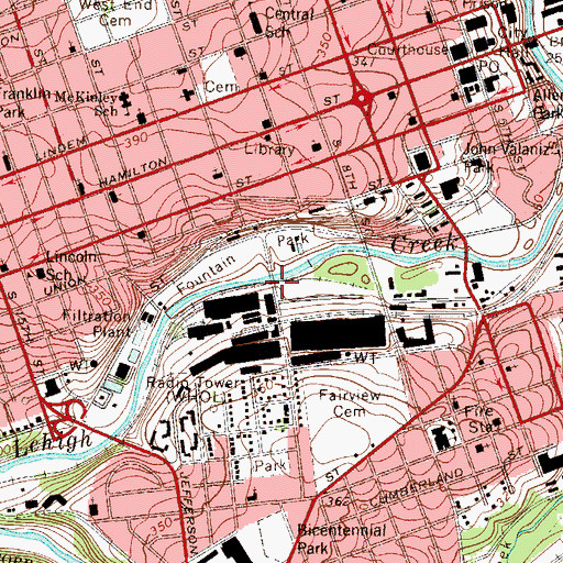 Topographic Map of City of Allentown, PA