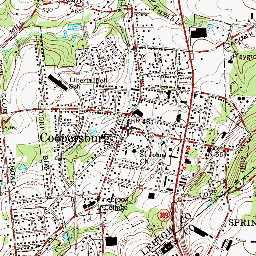 Topographic Map of Borough of Coopersburg, PA