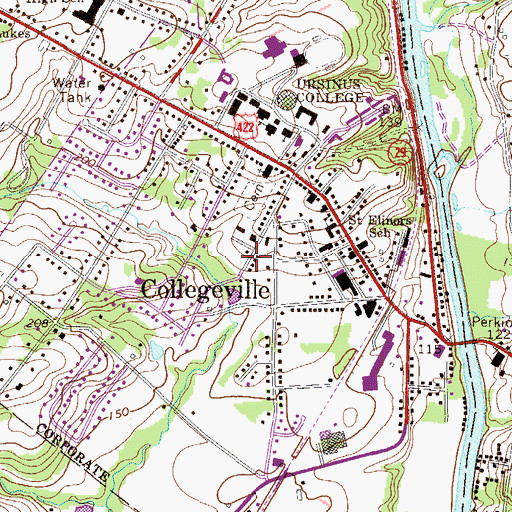 Topographic Map of Borough of Collegeville, PA