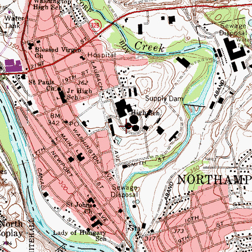 Topographic Map of Borough of Northampton, PA