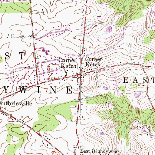 Topographic Map of Township of East Brandywine, PA