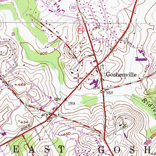Topographic Map of Township of East Goshen, PA