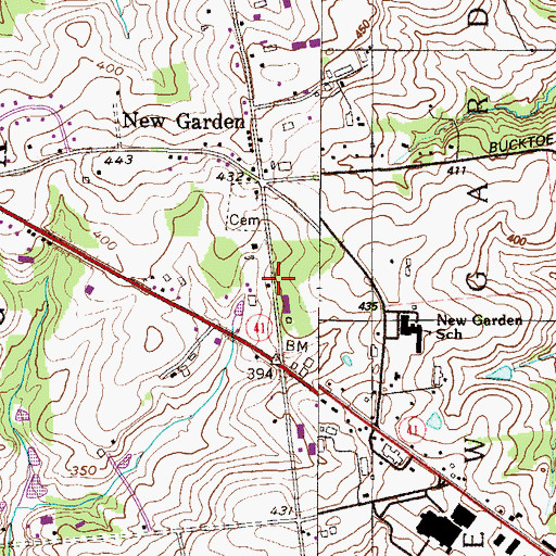 Topographic Map of Township of New Garden, PA
