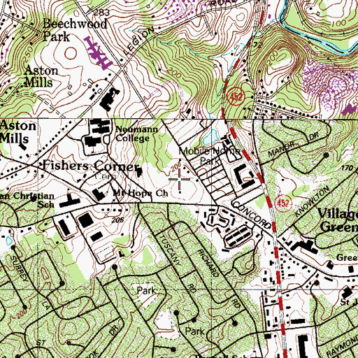 Topographic Map of Township of Aston, PA