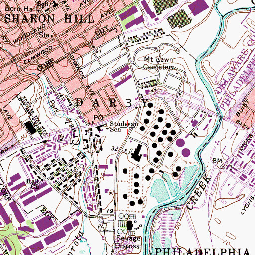 Topographic Map of Township of Darby, PA