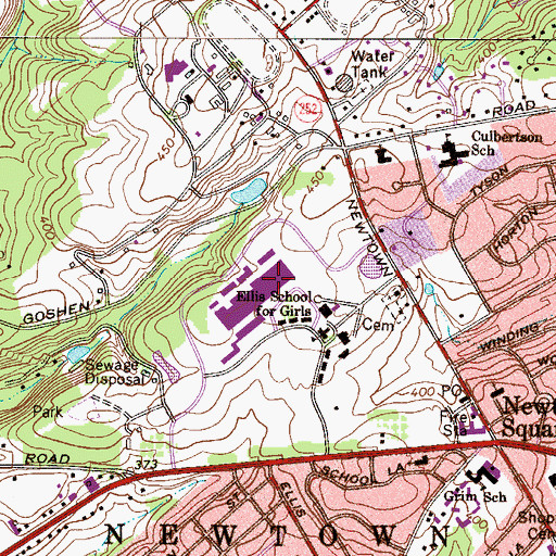 Topographic Map of Township of Newtown, PA