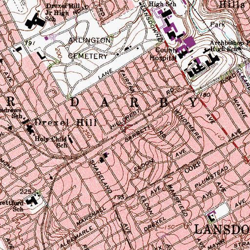 Topographic Map of Township of Upper Darby, PA