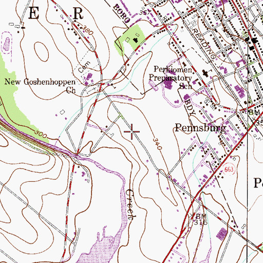 Topographic Map of Township of Upper Hanover, PA