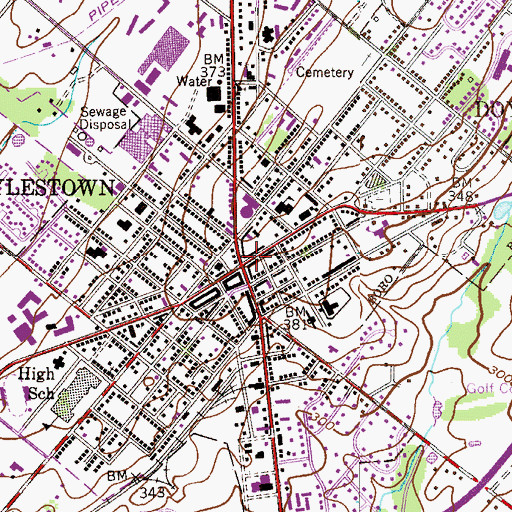 Topographic Map of Doylestown, PA