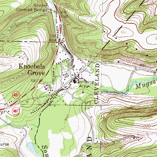 Topographic Map of Mugser Run, PA