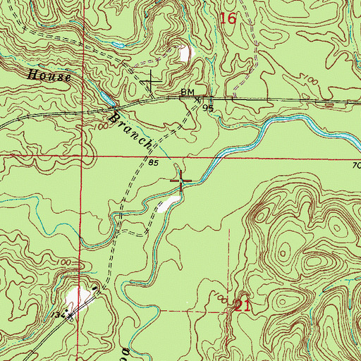 Topographic Map of Little Souwilpa Creek, AL
