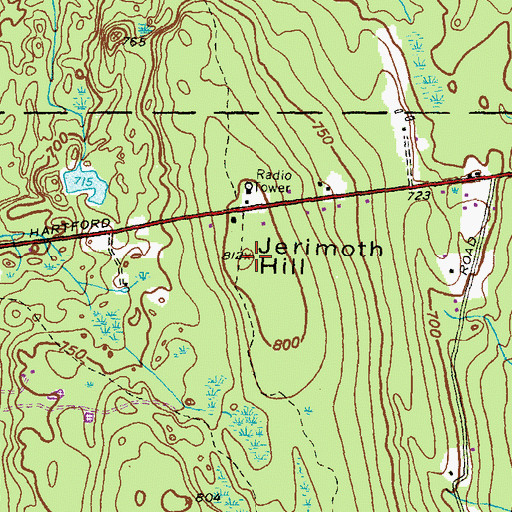 Topographic Map of Jerimoth Hill, RI