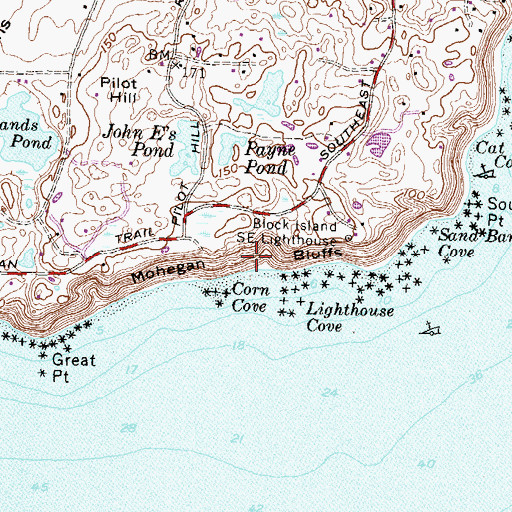 Topographic Map of Mohegan Bluffs, RI