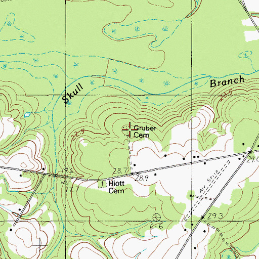Topographic Map of Gruber Cemetery, SC