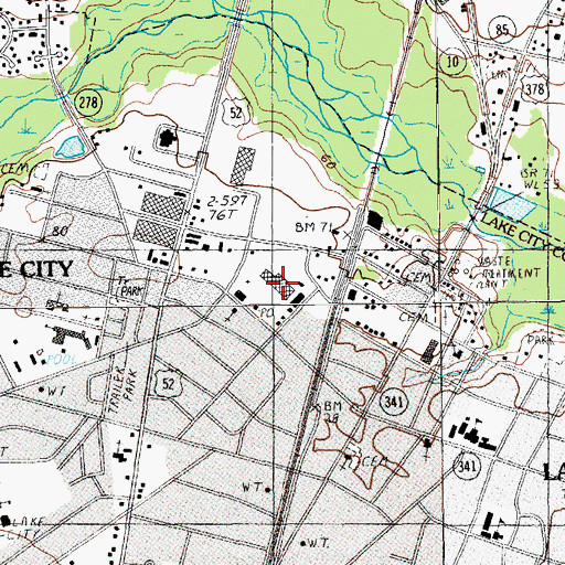 Topographic Map of Lake City Shopping Center, SC