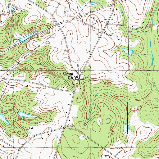 Topographic Map of Unity Church, SC