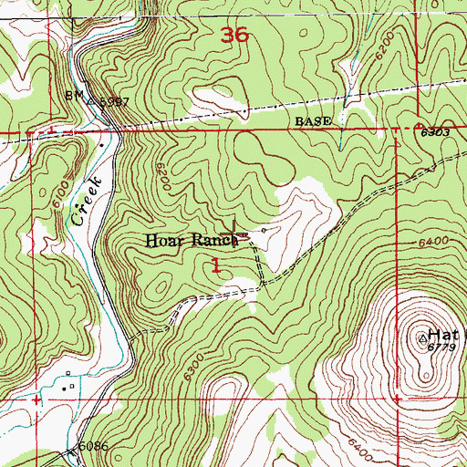 Topographic Map of Hoar Ranch, SD