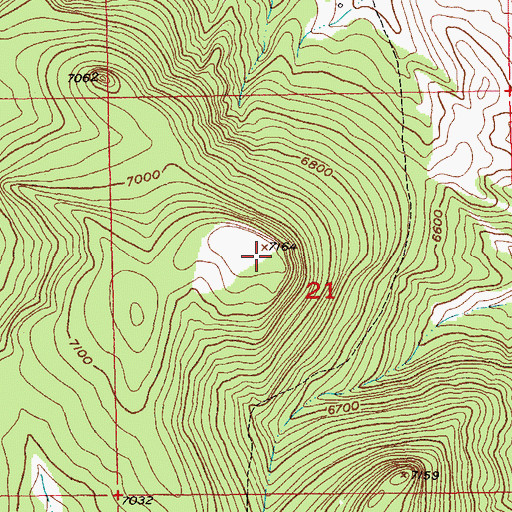 Topographic Map of Green Mountain, SD
