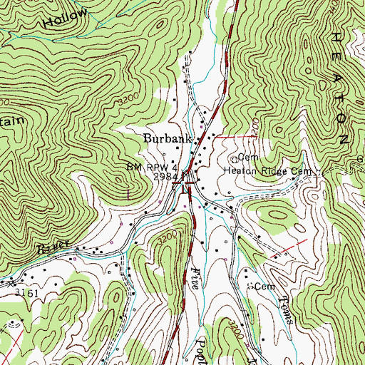 Topographic Map of Five Poplar Branch, TN