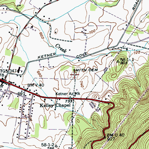 Topographic Map of Smith Cemetery, TN