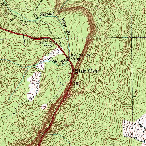 Topographic Map of Star Gap, TN