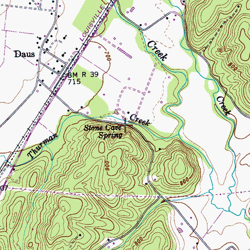 Topographic Map of Stone Cave Spring, TN