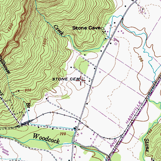 Topographic Map of Stone Cemetery, TN