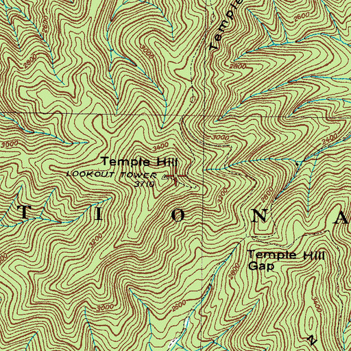 Topographic Map of Temple Hill, TN