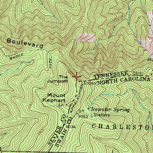 Topographic Map of The Jumpoff, TN