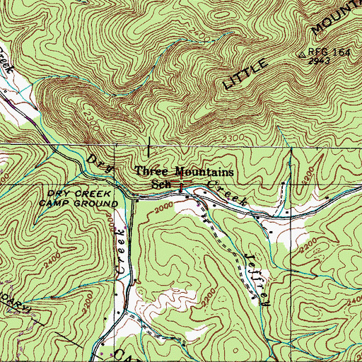 Topographic Map of Three Mountains School, TN