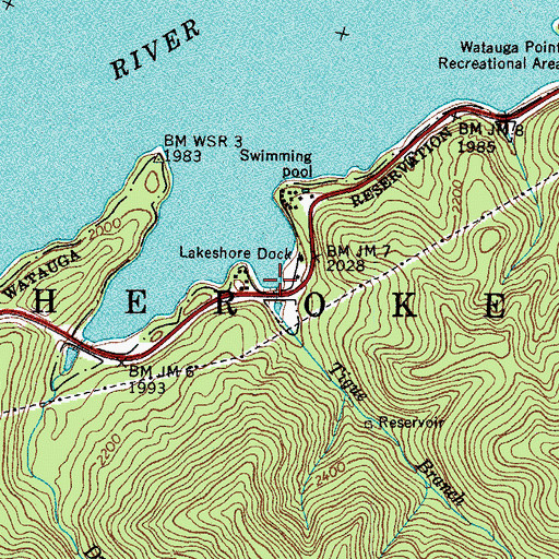 Topographic Map of Tigue Branch, TN