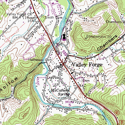 Topographic Map of Valley Forge, TN