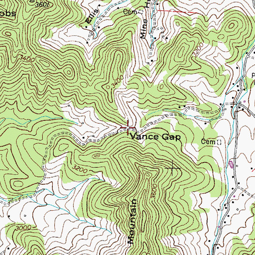 Topographic Map of Vance Gap, TN