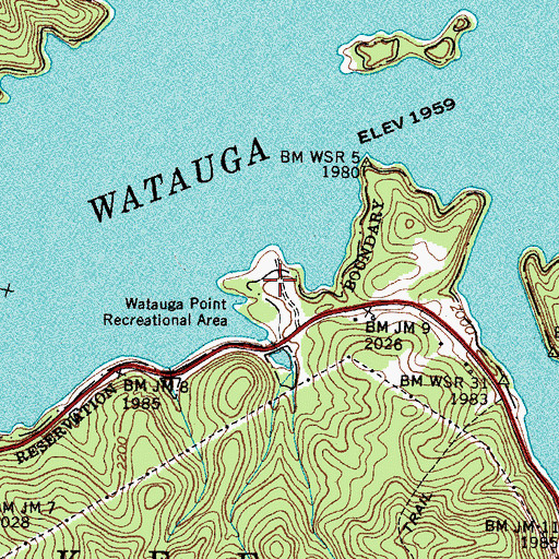 Topographic Map of Watauga Point Recreational Area, TN