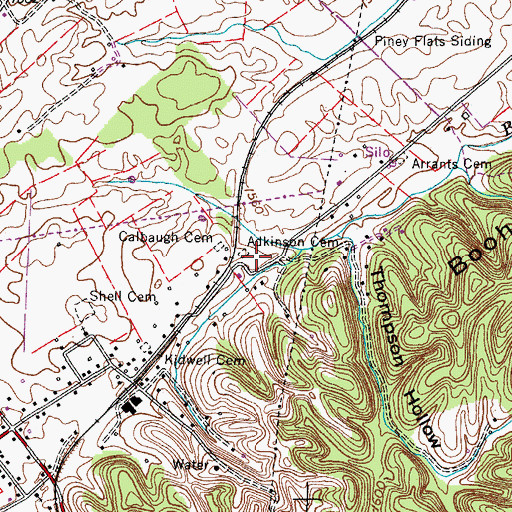 Topographic Map of Atkinson Cemetery, TN