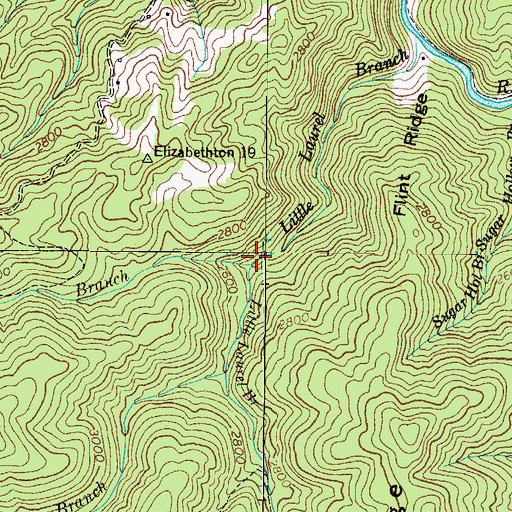 Topographic Map of Bearwallow Branch, TN