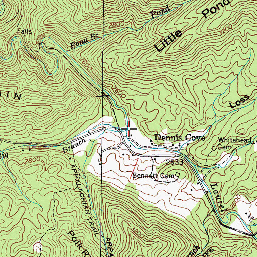 Topographic Map of Big Branch, TN