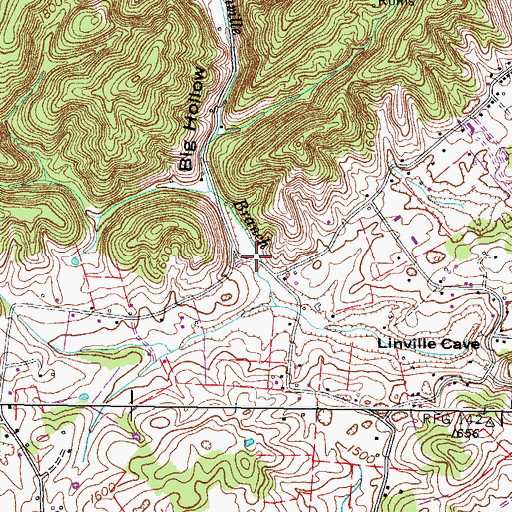 Topographic Map of Big Hollow, TN