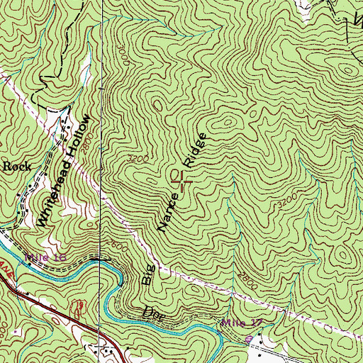 Topographic Map of Big Nance Ridge, TN