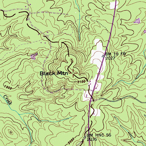 Topographic Map of Black Mountain, TN