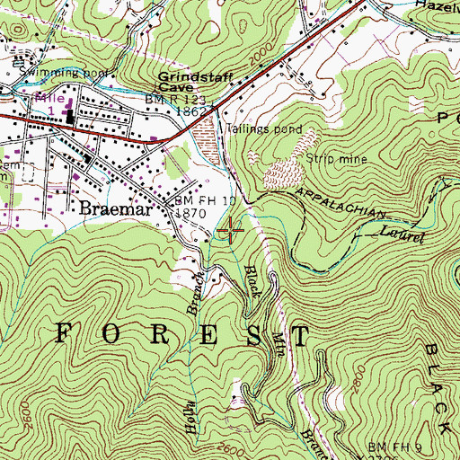 Topographic Map of Black Mountain Branch, TN